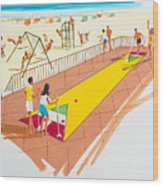 Retro Shuffleboard Art From The 1960's Wood Print