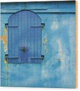 Shuttered Blue Wood Print