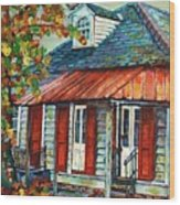 Shuttered Red  Wood Print