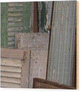 Shutters And Column  Wood Print