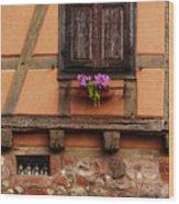 Shutters And Window Box In Kaysersberg Wood Print