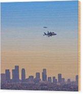 Shuttle Over La 2 Wood Print