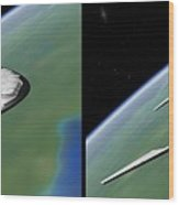 Shuttle X-2010 - Gently Cross Your Eyes And Focus On The Middle Image Wood Print