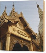 Shwedagon At Sunset Wood Print