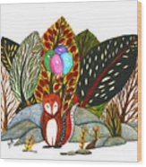Shy Fox With Balloons  Wood Print