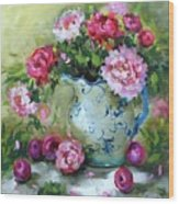 Shy Plums And Pink Peonies Wood Print