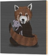 Shy Red Panda Wood Print