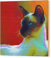 Siamese Cat 10 Painting Wood Print