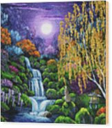 Siamese Cat By A Cascading Waterfall Wood Print