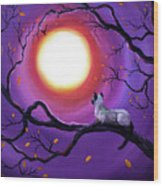 Siamese Cat In Purple Moonlight Wood Print