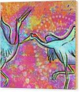 Siberian Cranes Wood Print