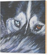 Siberian Husky Eyes Wood Print