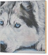 Siberian Husky Up Close Wood Print