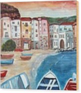 Sicilian Fishing Village Wood Print