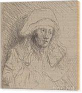 Sick Woman With A Large White Headdress (saskia) Wood Print