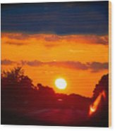Side Mirror Sunset Wood Print