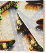 Side Streets Of Skate Wood Print