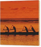 Side View Of Paddlers Wood Print