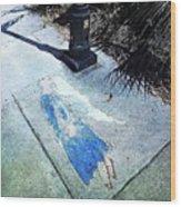Sidewalk Angel Wood Print