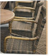 Sidewalk Cafe Texture Wood Print