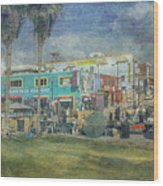 Sidewalk Cafe Venice Ca Panorama  Wood Print