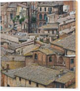 Siena Colored Roofs And Walls In Aerial View Wood Print