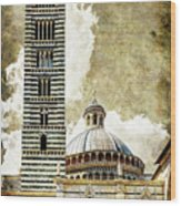 Siena Duomo Tower And Cupola Wood Print