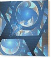 Sienna Blue Honeycomb Wood Print