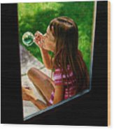 Sierra Blowing Bubbles Wood Print