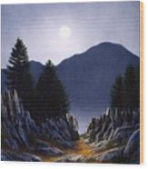 Sierra Moonrise Wood Print
