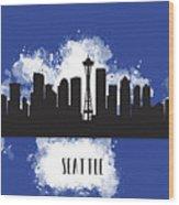 Seattle Skyline Silhouette Wood Print