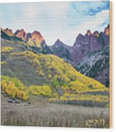 Sievers Peak And Golden Aspens Wood Print