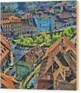 Sighisoara From Above Wood Print
