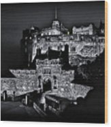 Sights In Scotland - Castle Bagpiper Wood Print
