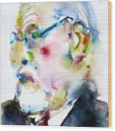 Sigmund Freud - Watercolor Portrait.3 Wood Print