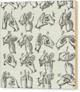 Sign Language Alphabet Wood Print