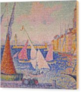 Signac: St. Tropez Harbor Wood Print by Granger