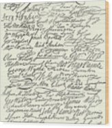 Signatures To The Declaration Of Independence Wood Print