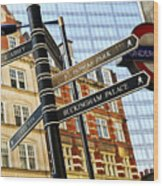 Signpost In London Wood Print