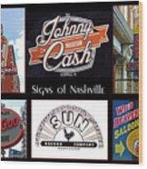 Signs Of Nashville Wood Print