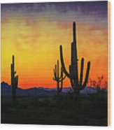 Sihouette Sunrise In The Sonoran Wood Print