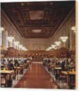 Silence In The Library Wood Print