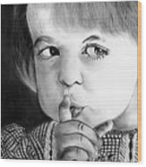 Silence Please  Wood Print