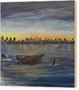 Silent Night At Sea Wood Print