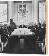 Silent Still: Board Meeting Wood Print
