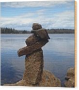 Silent Watch - Inukshuk On Boulder At Long Lake Hiking Trail Wood Print