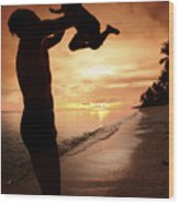 Silhouette Family Of Child Hold On Father Hand Wood Print by Anek Suwannaphoom