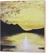 Silhouette Lagoon Wood Print