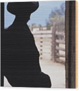 Silhouette Of A Cowboy In A Doorway Wood Print