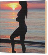 Silhouette Of A Fit Woman  Wood Print